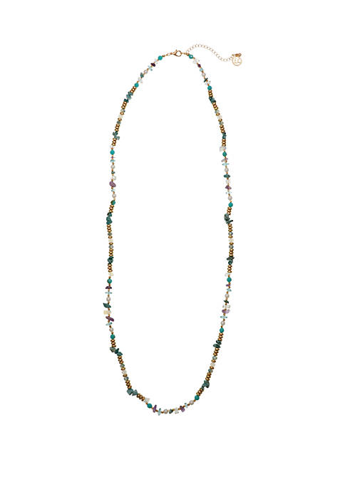 Gold Tone Single Strand Necklace with Turquoise and Purple Glass Chips