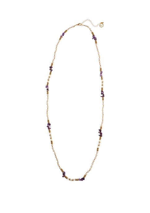 Gold Tone Single Strand Necklace with Pearl Beads and Purple Glass Chips