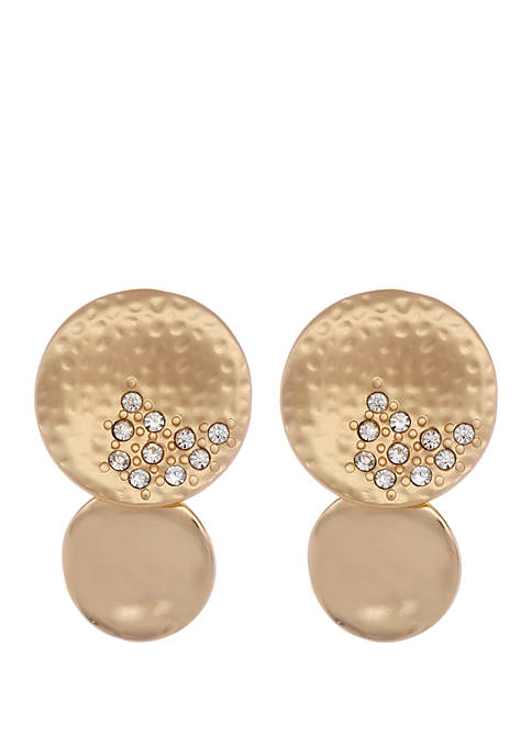 Erica Lyons Gold Tone Hammered Disc Clip Earrings