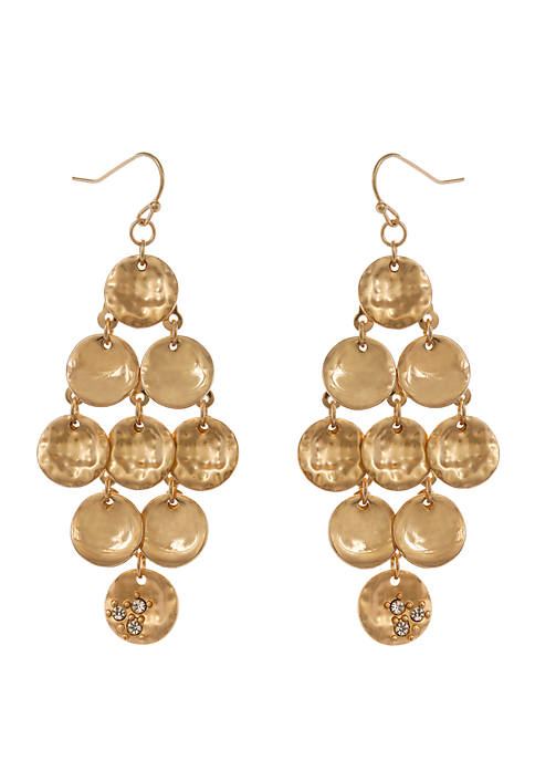 Erica Lyons Gold Tone Hammered and Smooth Disc