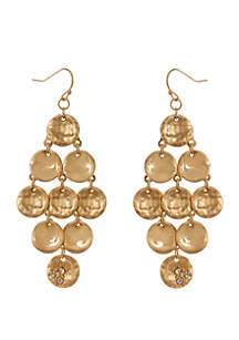 Erica Lyons Gold Tone Hammered and Smooth Disc Chandelier Pierced Earrings with Crystal Stone Accents