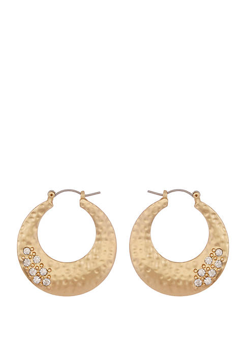 Erica Lyons Gold Tone Hammered Hoop Earrings with