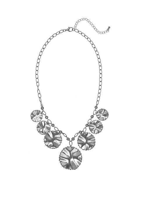 Silver Tone Frontal Necklace with Discs