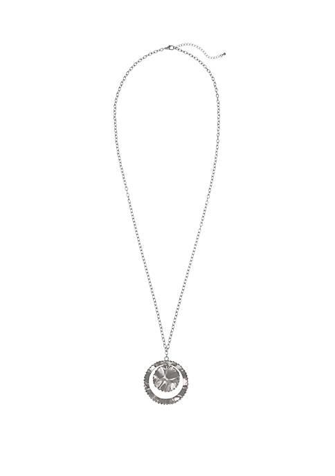 Silver Tone Pendant Disc Necklace