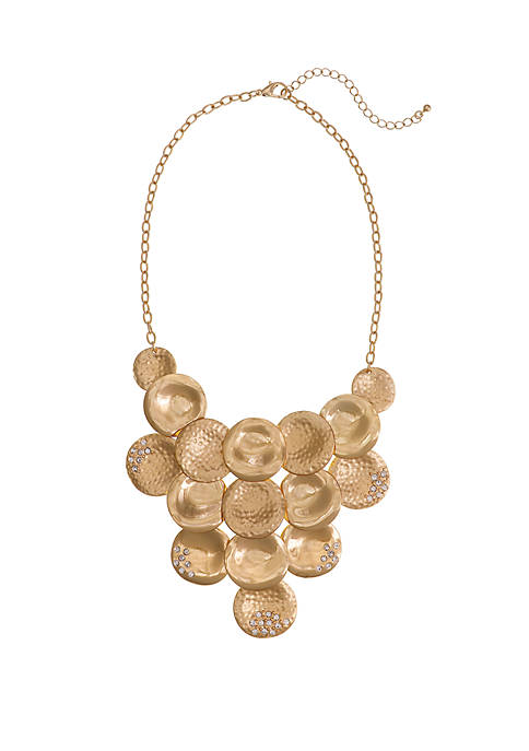 Gold Tone Hammered and Smooth Disc Statement Necklace with Crystal Stone Accents