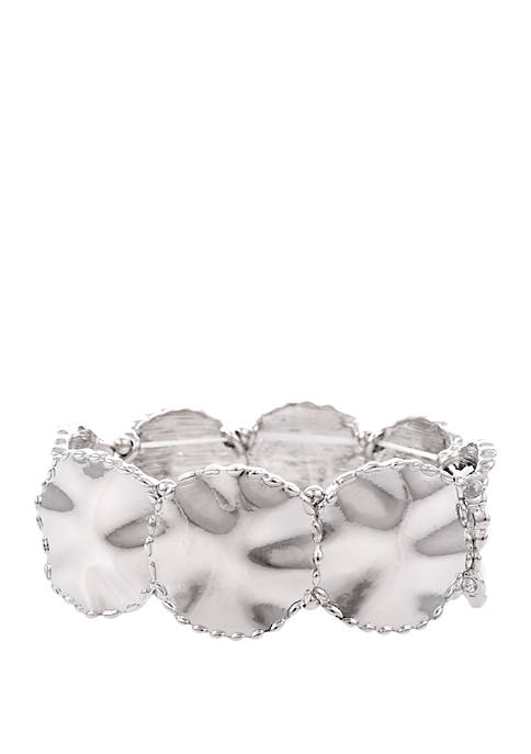 Erica Lyons Silver Tone Stretch Bracelet with Wavy