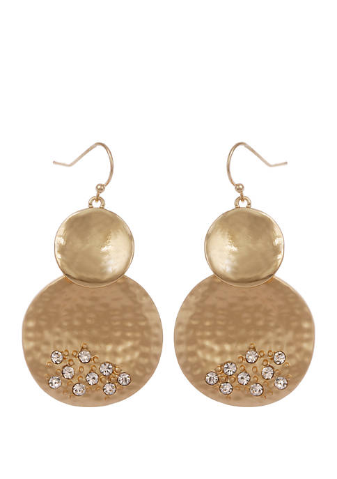 Erica Lyons Gold Tone Hammered Disc Drop Pierced