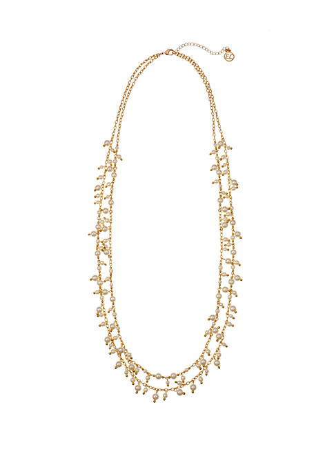 Erica Lyons Gold Tone 2 Row Necklace with
