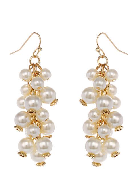 Gold Tone Pearl Cluster Pierced Earrings