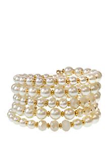 Erica Lyons Gold Tone Pearl Coil Bracelet