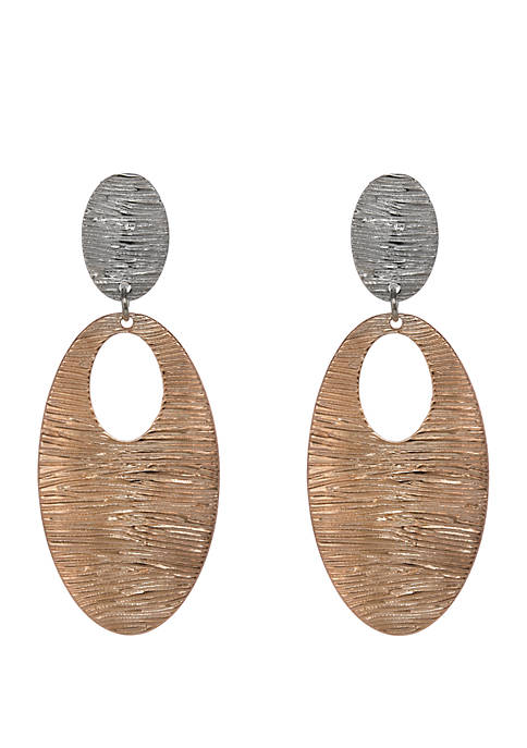 Erica Lyons 2 Tone Textured Teardrop Clip Earrings