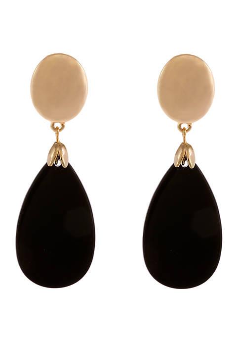 Gold Tone Clip Earrings with Jet Teardrop