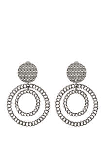 Erica Lyons Silver Tone Chain Link Clip Earrings