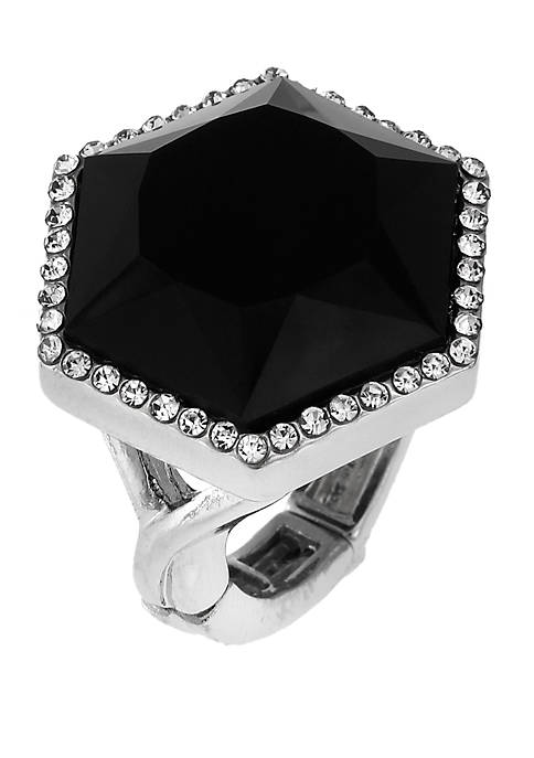 Silver Tone Stretch Ring with Octagon Shape Black Stone and Crystal Stone Accents