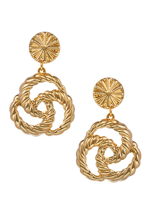 Gold Tone Twisted Drop Clip Earrings