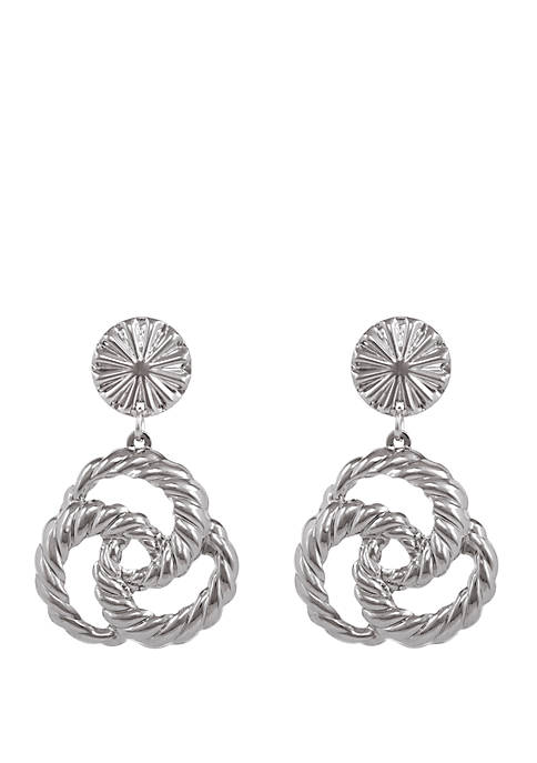 Erica Lyons Silver Tone Drop Clip Earrings