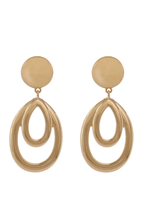 Erica Lyons Gold Tone Double Teardrop Clip Earrings