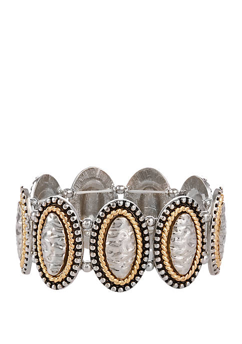 Two Tone Stretch Bracelet with Textured Oval Castings