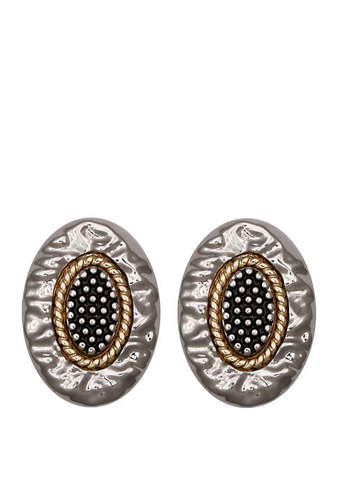 Erica Lyons Silver Tone Clip Earrings with Textured