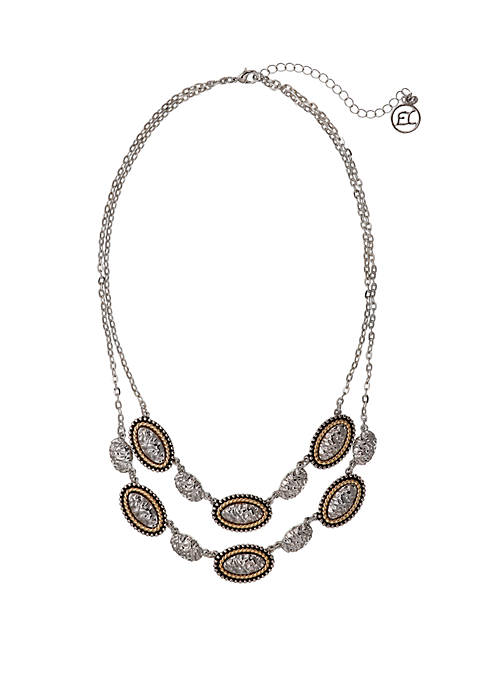 Silver Tone 2 Row Necklace with Two Tone Textured Oval Castings