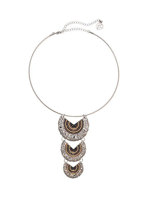 Erica Lyons Silver Tone Coil Necklace with Two