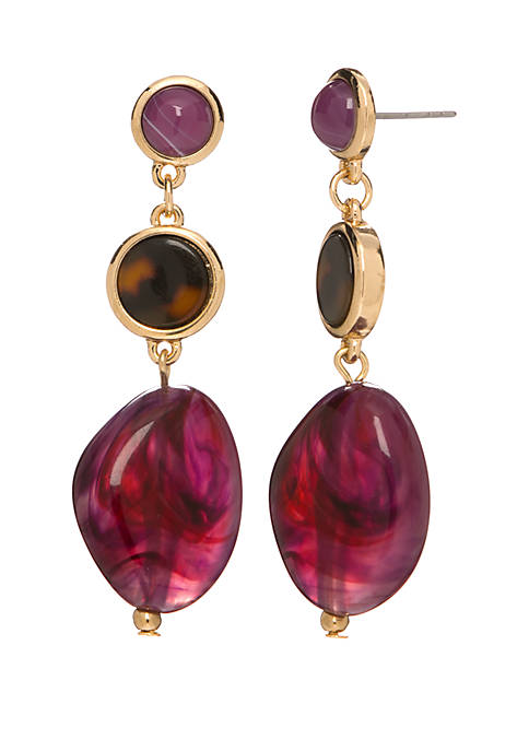 Erica Lyons 3 Purple Stone Drop Earrings