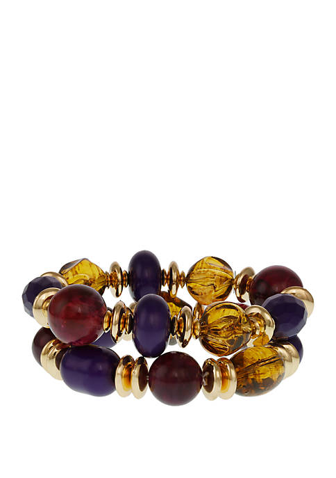Erica Lyons Gold Tone 2 Piece Stretch Bracelet