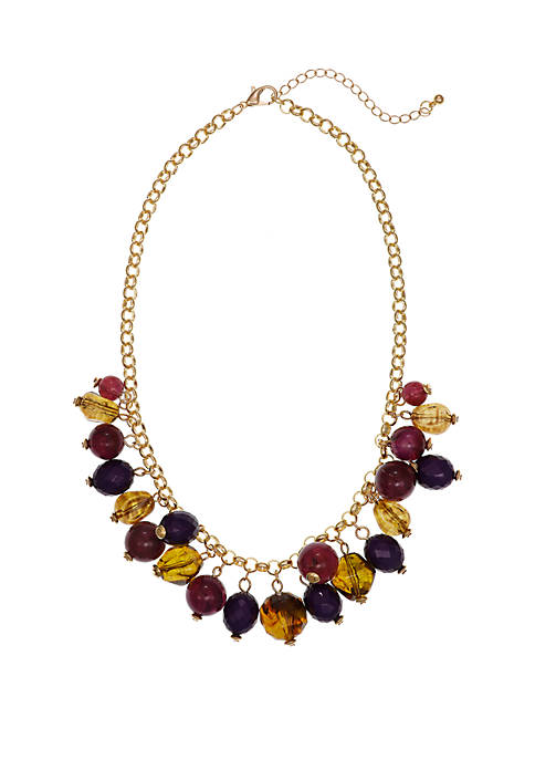Gold Tone Shaky Frontal Necklace with Acrylic Beads