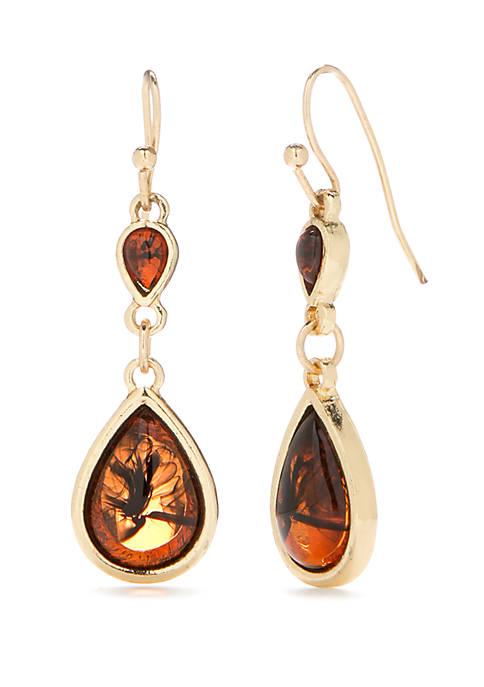 Gold Tone Teardrop Tortoise Earrings
