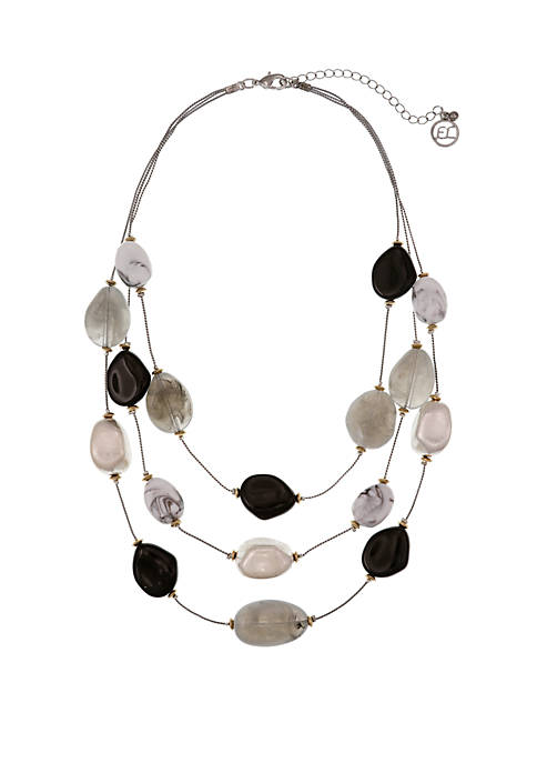 Silver Tone 3 Row Illusion Necklace with Assorted Gray Acrylic Beads