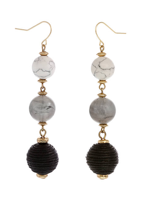 Gold Tone Linear Pierced Earrings with Resin and Thread Wrapped Beads