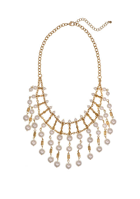 Erica Lyons Gold Tone Statement Pearl Necklace