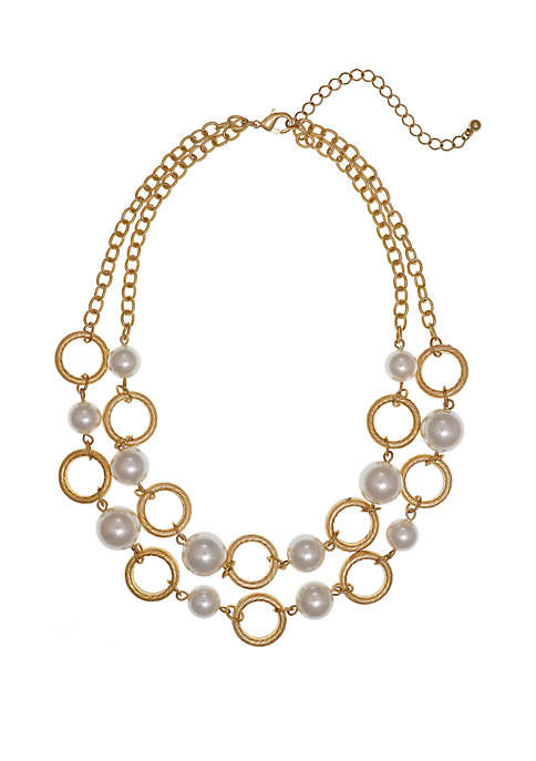 Erica Lyons Gold Tone 2 Row Short Necklace