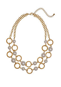 Erica Lyons Gold Tone 2 Row Short Necklace with Acrylic Pearl and Ring Accents