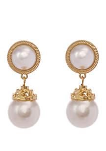 Erica Lyons Gold Tone Pearl Drop Clip Earrings