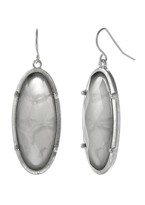 Erica Lyons Silver Tone Oval Drop Earrings with