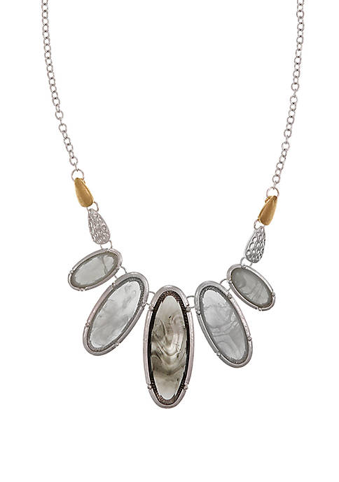 Silver Tone Frontal Necklace with Oval Faceted Stones