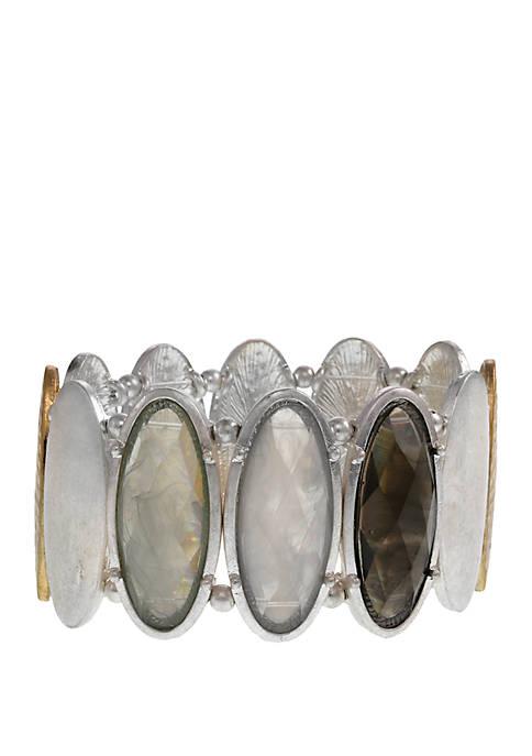 Erica Lyons Silver Tone Oval Stretch Bracelet with