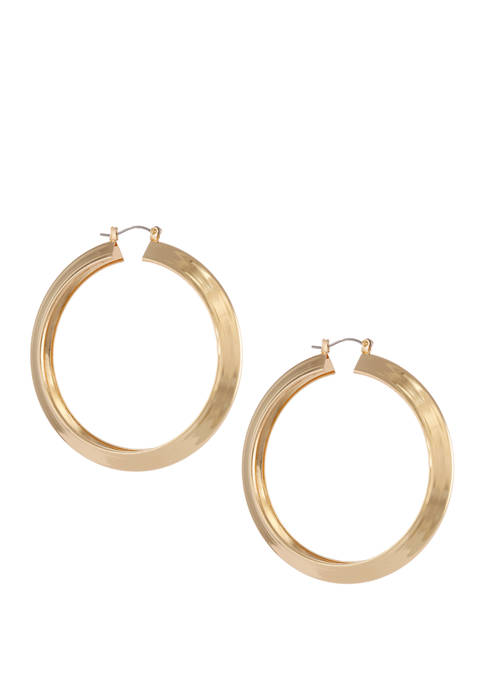 Erica Lyons Gold Tone Thick Click It Hoop