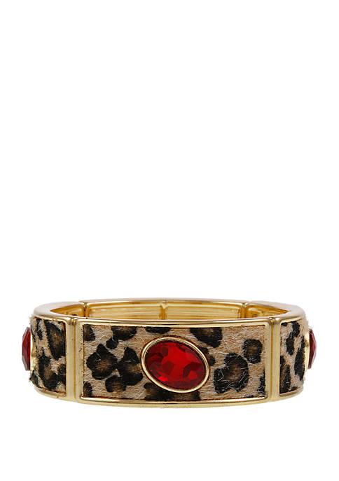 Erica Lyons Gold Tone Faux Leopard Stretch Bracelet