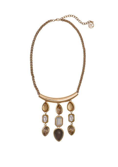 Erica Lyons Gold Tone Frontal Bar Necklace with
