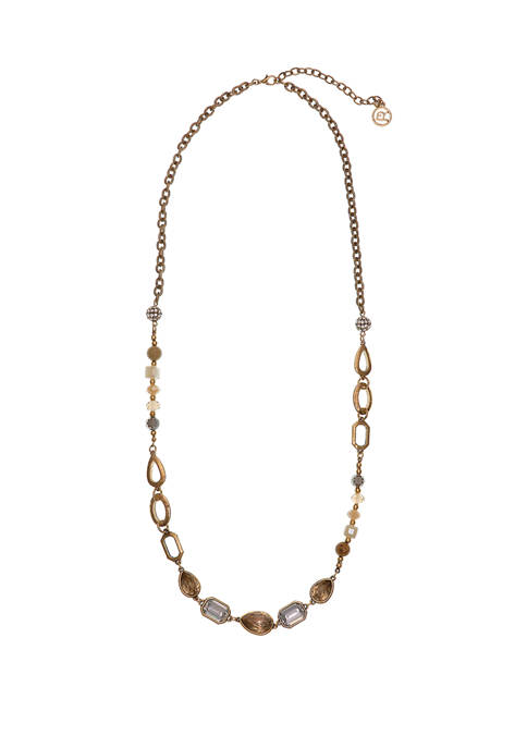 Gold Tone Faceted Stone Long Necklace