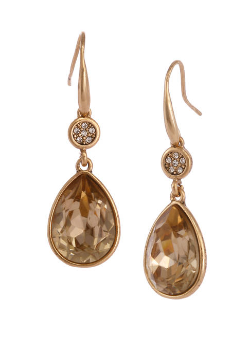 Gold Tone Teardrop Earrings with Faceted Colorado Topaz Stone