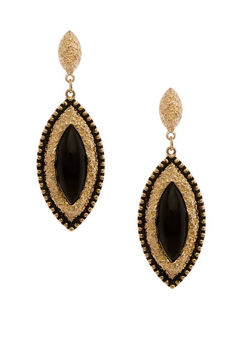 Gold Tone Navette Drop Pierced Earrings With Jet Cab