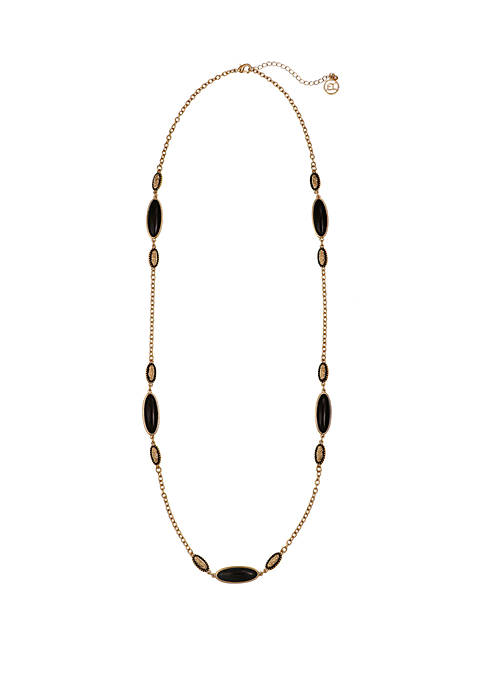 Erica Lyons Gold Tone Long Necklace with Jet