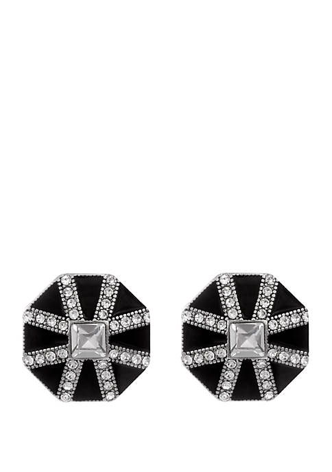 Silver Tone Button Clip Earrings with Black Epoxy and Crystal Stone Accents
