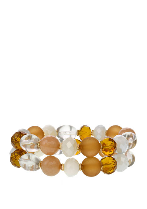 Erica Lyons 2 Row Gold Tone Assorted Beaded