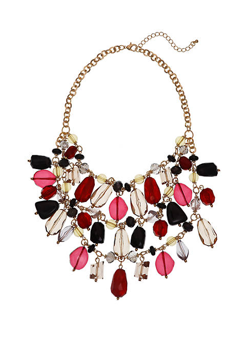 Erica Lyons Gold Tone Statement Necklace with Assorted