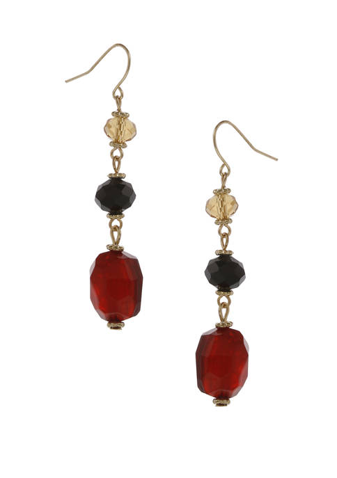 Gold Tone Linear Drop Pierced Earrings with Assorted Glass Beads