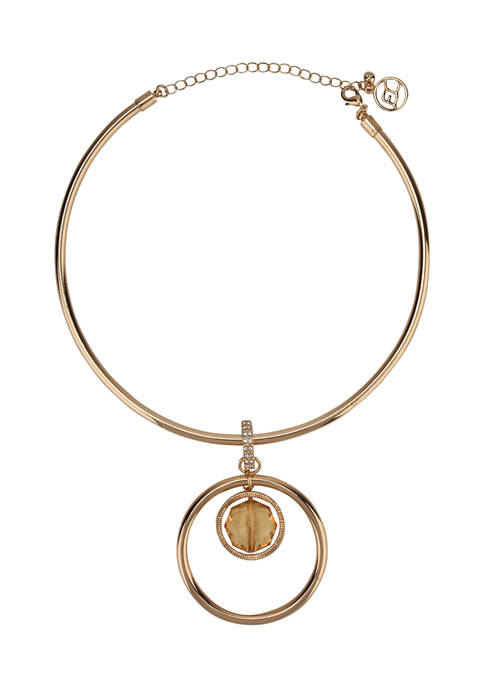 Erica Lyons Gold Tone Ring & Stone Pendant